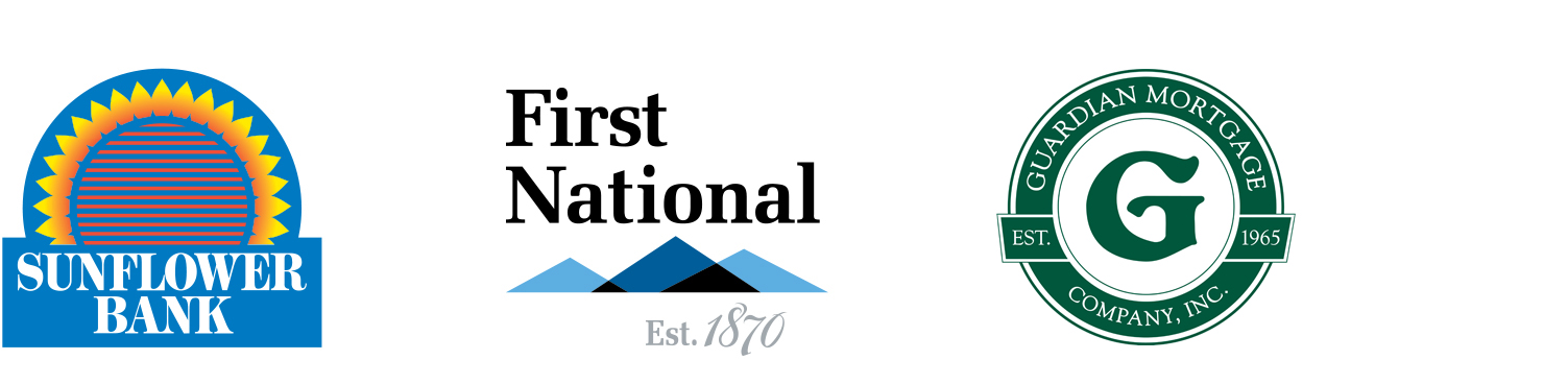 Sunflower Bank, First National, Guardian Mortgage logos
