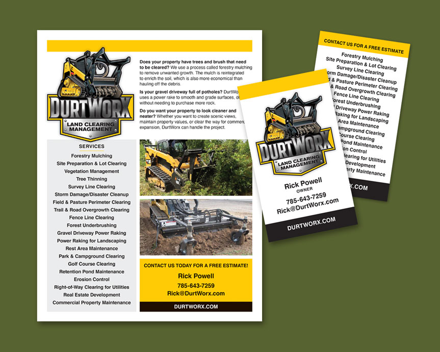 DurtWorx flyer and business cards